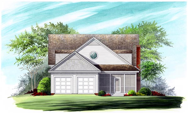 Farmhouse, Traditional House Plan 86299 with 4 Beds, 4 Baths, 2 Car Garage Rear Elevation