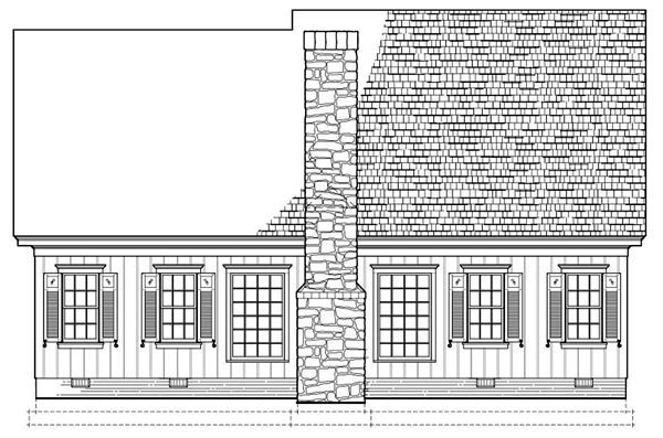 Traditional House Plan 86300 with 3 Beds, 4 Baths, 2 Car Garage Rear Elevation