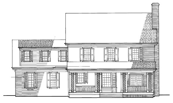 Traditional Rear Elevation of Plan 86304