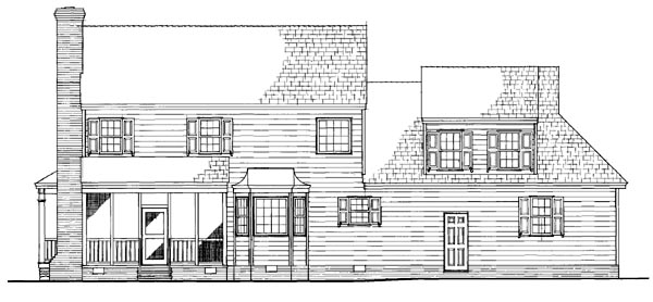 Cottage Country Farmhouse Traditional Rear Elevation of Plan 86305