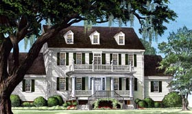 Colonial Cottage Country Farmhouse Traditional House Plan 86306 Elevation