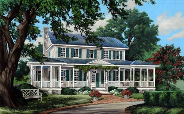Colonial Cottage Country Farmhouse Southern Traditional House Plan 86308 Elevation