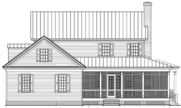 Colonial Cottage Country Farmhouse Southern Traditional House Plan 86308 Rear Elevation