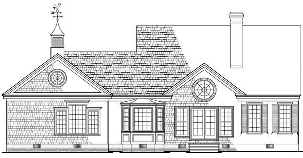 Cottage , Country House Plan 86309 with 3 Beds, 2 Baths, 2 Car Garage Rear Elevation