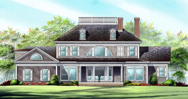 European House Plan 86318 with 4 Beds, 5 Baths, 3 Car Garage Rear Elevation