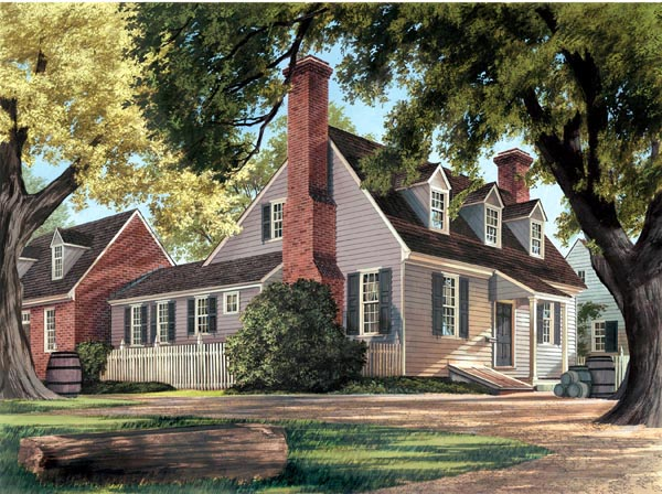 Cape Cod , Colonial House Plan 86326 with 3 Beds, 4 Baths, 2 Car Garage Elevation