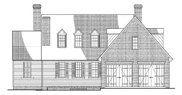 Cape Cod , Colonial House Plan 86326 with 3 Beds, 4 Baths, 2 Car Garage Rear Elevation