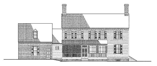 Colonial, Traditional House Plan 86327 with 4 Beds, 4 Baths, 2 Car Garage Rear Elevation