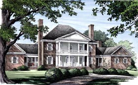 Plantation , Colonial House Plan 86333 with 5 Beds, 7 Baths, 3 Car Garage Elevation