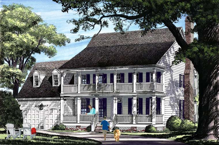 Colonial Farmhouse Southern Elevation of Plan 86342