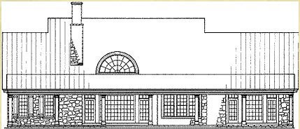 Traditional Rear Elevation of Plan 86343