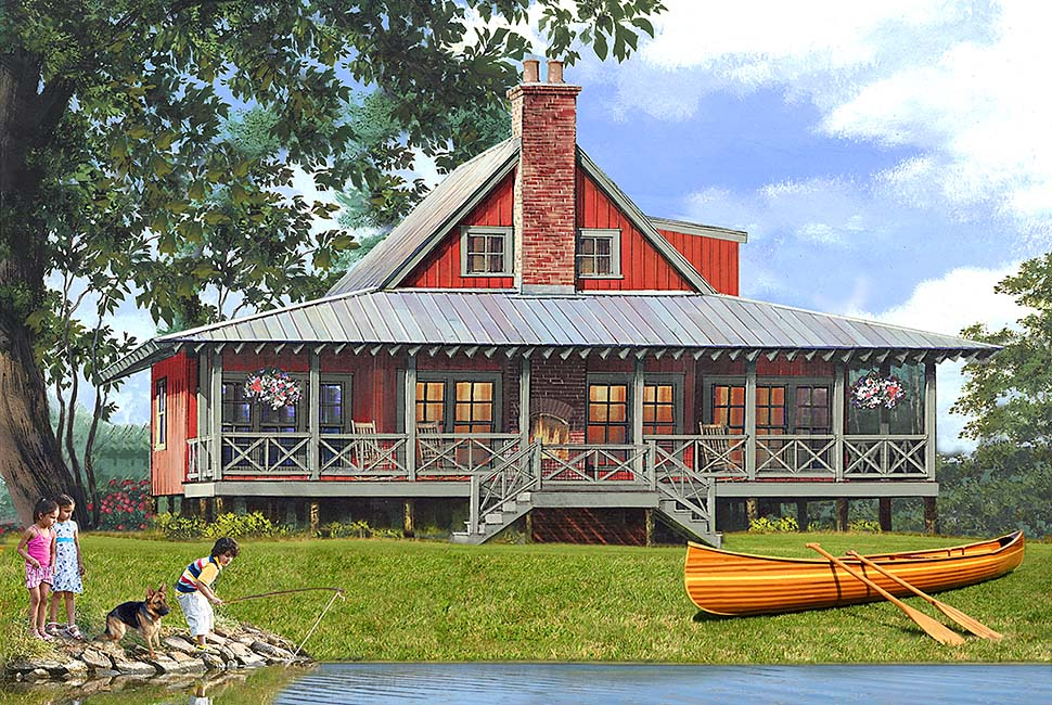 Bungalow , Cabin , Cottage , Country , Southern , Traditional House Plan 86350 with 4 Beds, 3 Baths, 2 Car Garage Elevation
