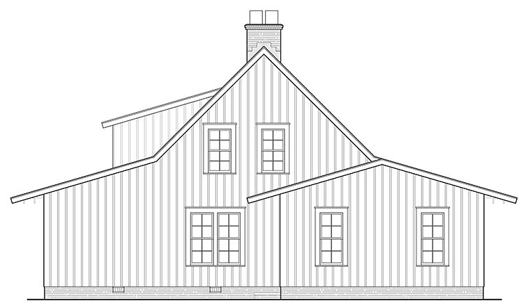 Bungalow , Cabin , Cottage , Country , Southern , Traditional House Plan 86350 with 4 Beds, 3 Baths, 2 Car Garage Rear Elevation