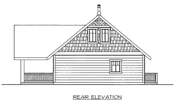Rear Elevation of Plan 86501