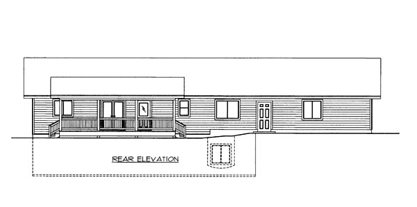 House Plan 86505 with 2 Beds, 2 Baths, 2 Car Garage Rear Elevation