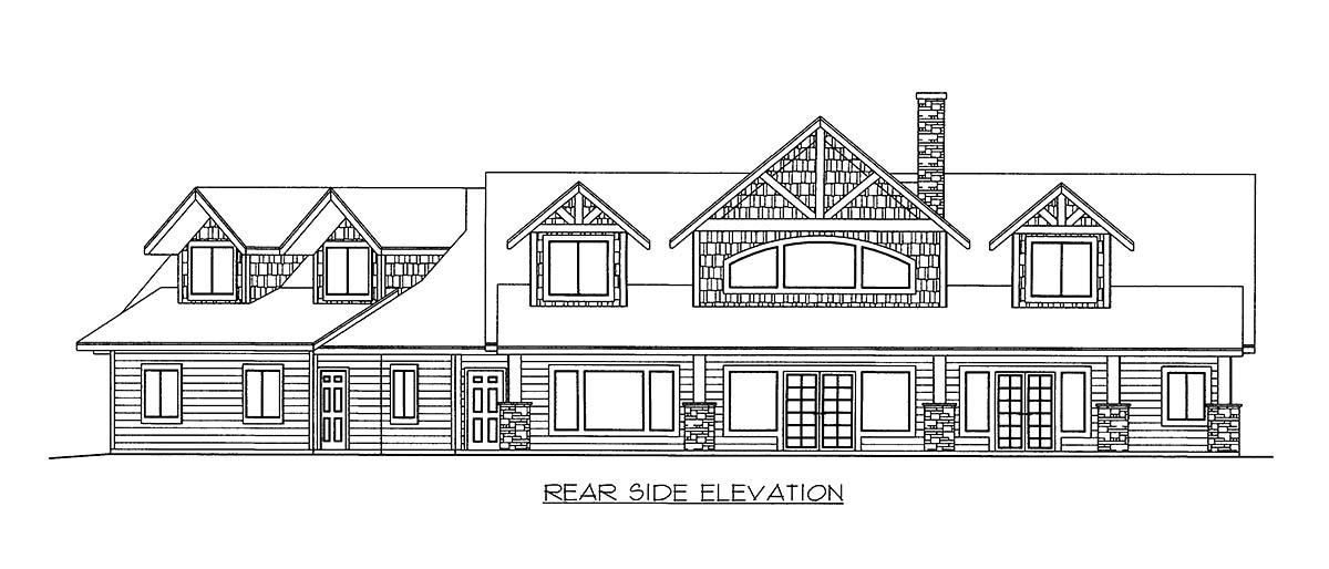 House Plan 86519 with 3 Beds, 3 Baths, 3 Car Garage Rear Elevation