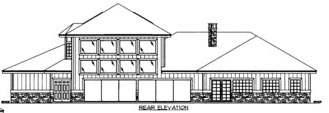 House Plan 86520 with 2 Beds, 5 Baths, 3 Car Garage Rear Elevation