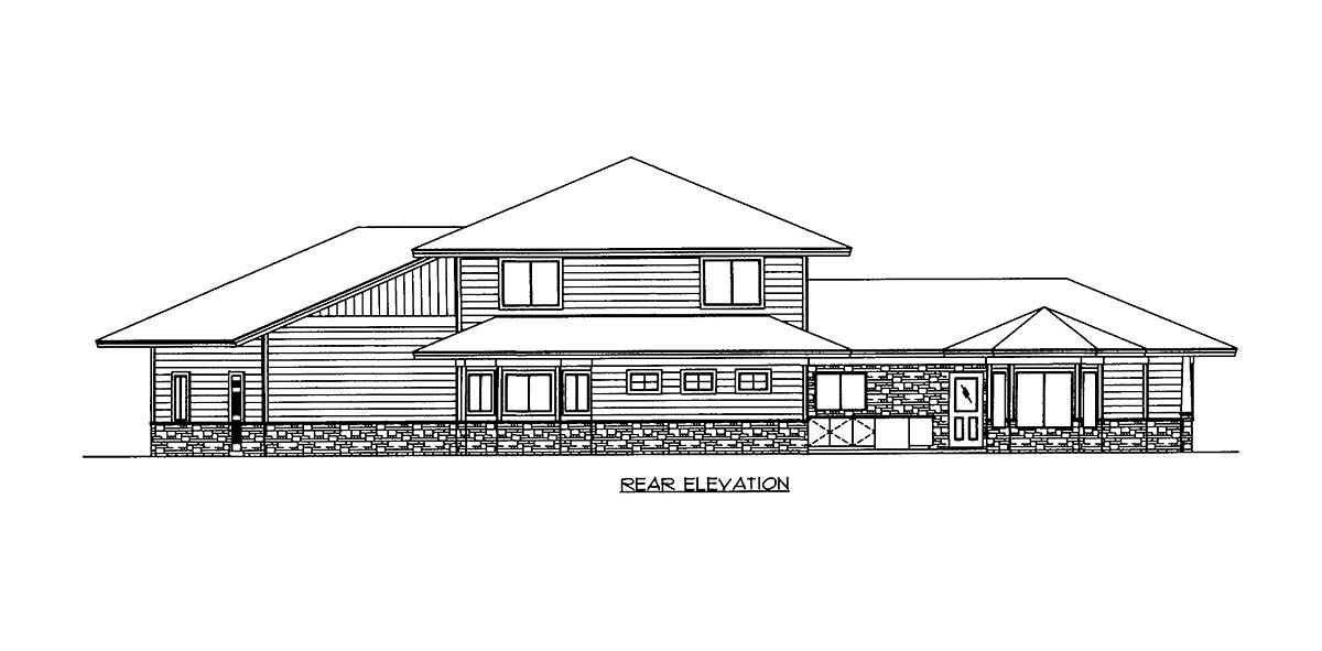 House Plan 86525 with 4 Beds, 4 Baths, 2 Car Garage Rear Elevation