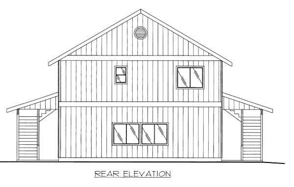Log House Plan 86532 Rear Elevation