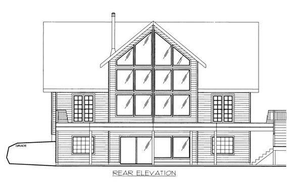 House Plan 86533 with 4 Beds, 4 Baths, 2 Car Garage Rear Elevation