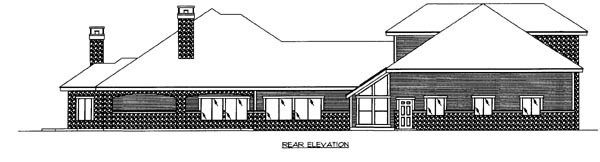 Rear Elevation of Plan 86535