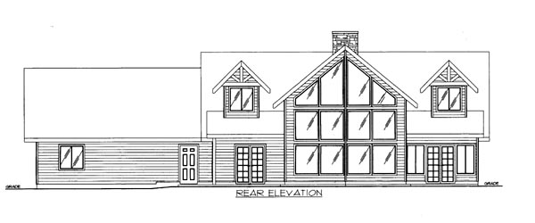 House Plan 86537 with 3 Beds, 3 Baths, 2 Car Garage Rear Elevation