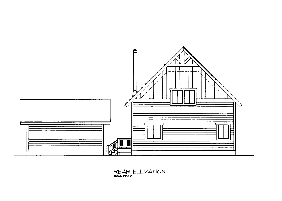 Rear Elevation of Plan 86543