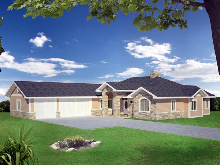 House Plan 86548 with 2 Beds, 4 Baths, 3 Car Garage Elevation