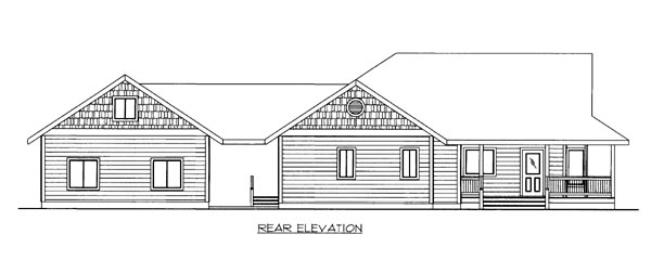 House Plan 86549 | Style Plan with 1922 Sq Ft, 2 Bedrooms, 2 Bathrooms, 2 Car Garage Rear Elevation