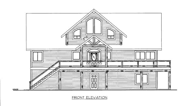 House Plan 86553 with 5 Beds, 4 Baths, 2 Car Garage Elevation