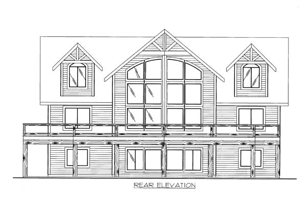 House Plan 86553 with 5 Beds, 4 Baths, 2 Car Garage Rear Elevation