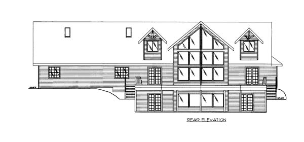 House Plan 86555 | Style Plan with 2847 Sq Ft, 3 Bedrooms, 4 Bathrooms, 2 Car Garage Rear Elevation