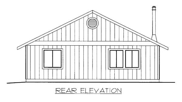 House Plan 86562 with 2 Beds, 1 Baths Rear Elevation