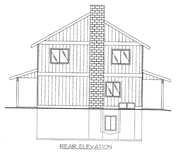 Rear Elevation of Plan 86564