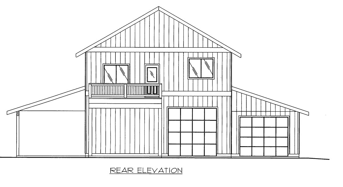 Rear Elevation of Plan 86568