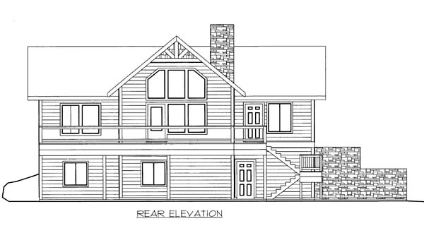 House Plan 86569 | Style Plan with 1951 Sq Ft, 3 Bedrooms, 3 Bathrooms, 2 Car Garage Rear Elevation