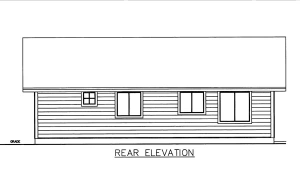House Plan 86574 with 2 Beds, 2 Baths Rear Elevation