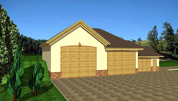 3 Car Garage Plan 86602 , RV Storage Elevation