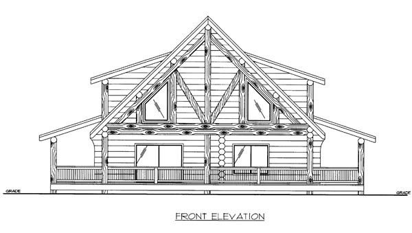 Log House Plan 86605 Elevation