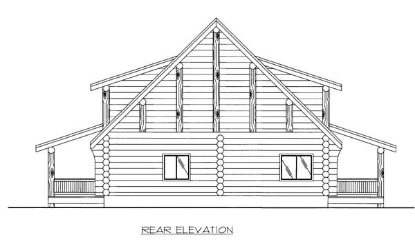 Log House Plan 86605 with 1 Beds, 2 Baths Rear Elevation