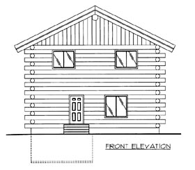 Log House Plan 86606 Elevation