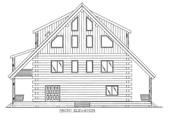 Log House Plan 86607 Elevation