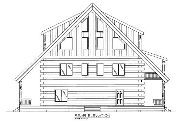 Log Rear Elevation of Plan 86607