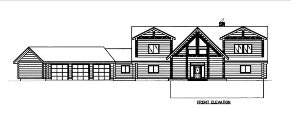 Log House Plan 86609 Elevation