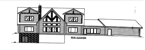 Log House Plan 86609 Rear Elevation
