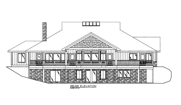House Plan 86614 with 2 Beds, 3 Baths, 2 Car Garage Rear Elevation