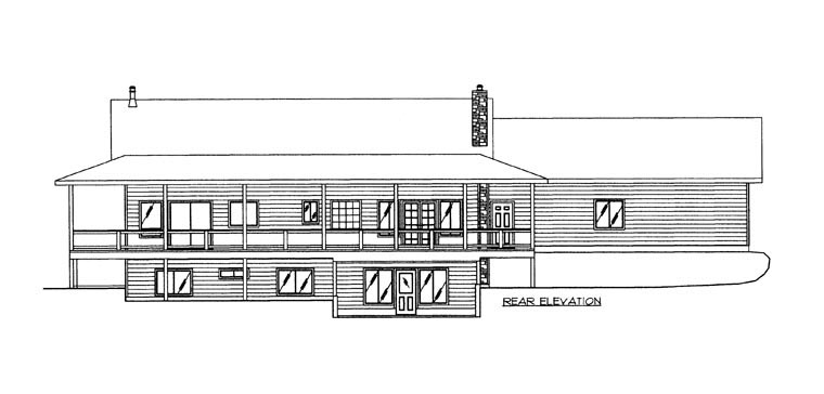 House Plan 86616 with 4 Beds, 3 Baths, 2 Car Garage Rear Elevation