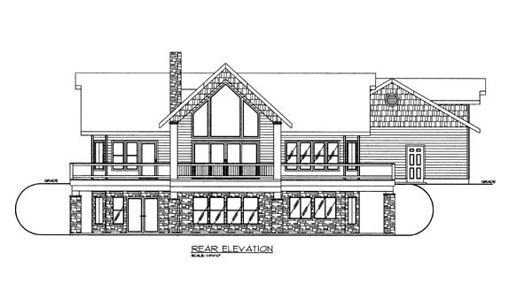 House Plan 86623 | Style Plan with 3685 Sq Ft, 2 Bedrooms, 3 Bathrooms, 2 Car Garage Rear Elevation