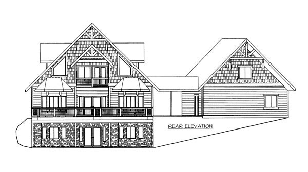 House Plan 86631 with 4 Beds, 5 Baths, 2 Car Garage Rear Elevation