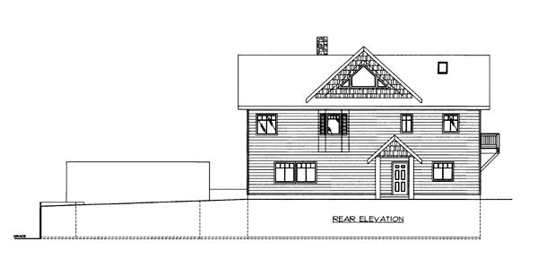 House Plan 86638 with 3 Beds, 4 Baths, 2 Car Garage Rear Elevation